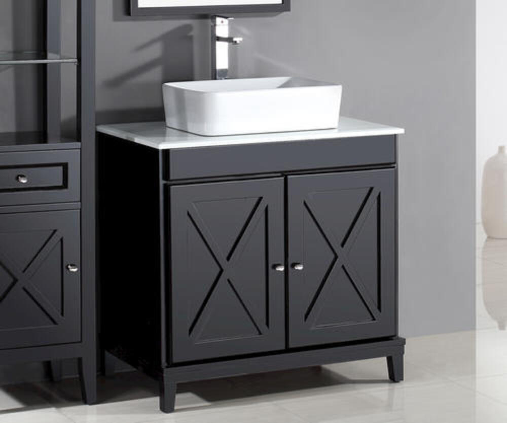 Ove Decors Aspen 32 W X 22 D Espresso Vanity And White Marble Vanity Top With Rectangular Vessel Bowl At Menards
