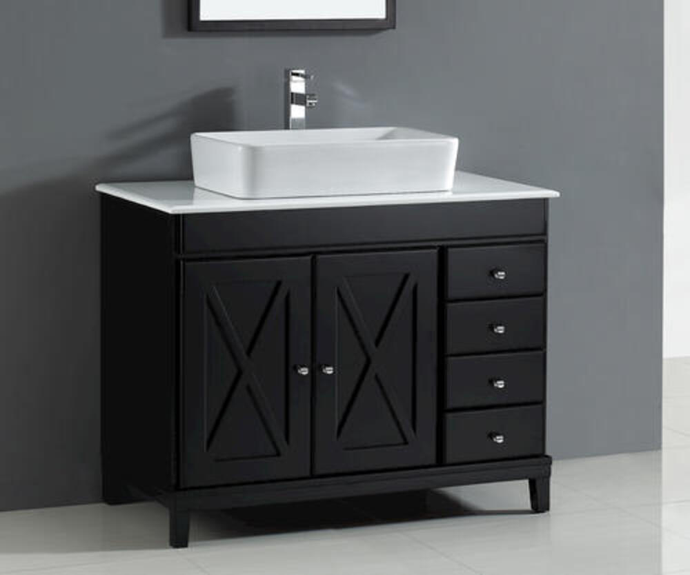 Ove Decors Aspen 40 W X 22 D Espresso Vanity And White Marble Vanity Top With Rectangular Vessel Bowl At Menards