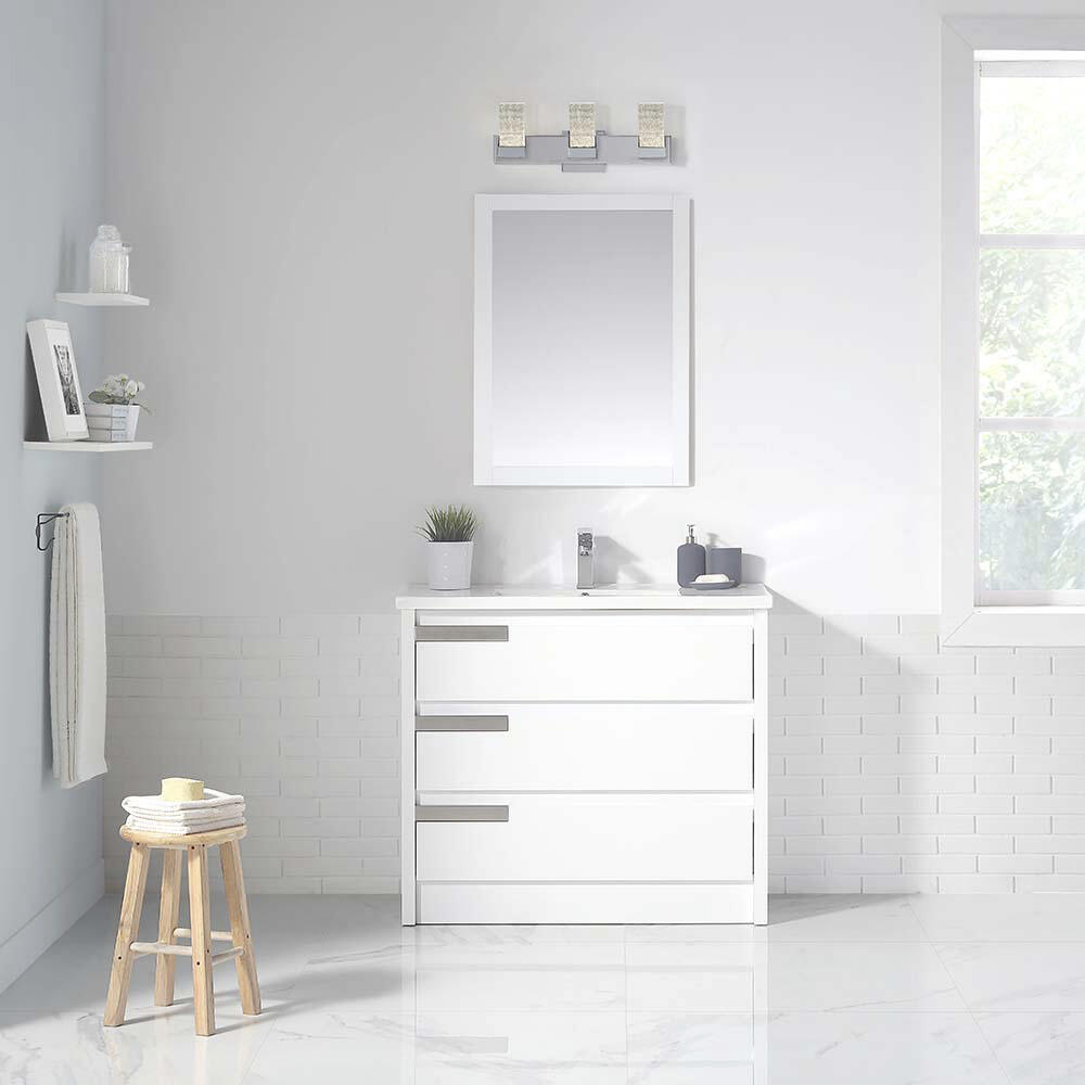 Ove Decors Brooklyn 40 W X 18 D White Vanity And White Porcelain Vanity Top With Rectangular Integrated Bowl At Menards