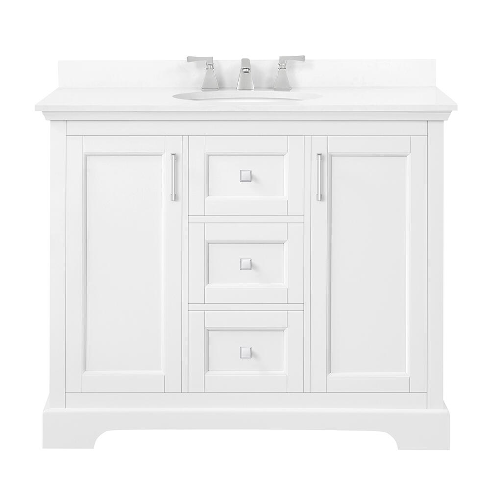 Ove Decors Emma 42 W X 22 D Vanity And White Cultured Stone Vanity Top With Oval Undermount Bowl At Menards