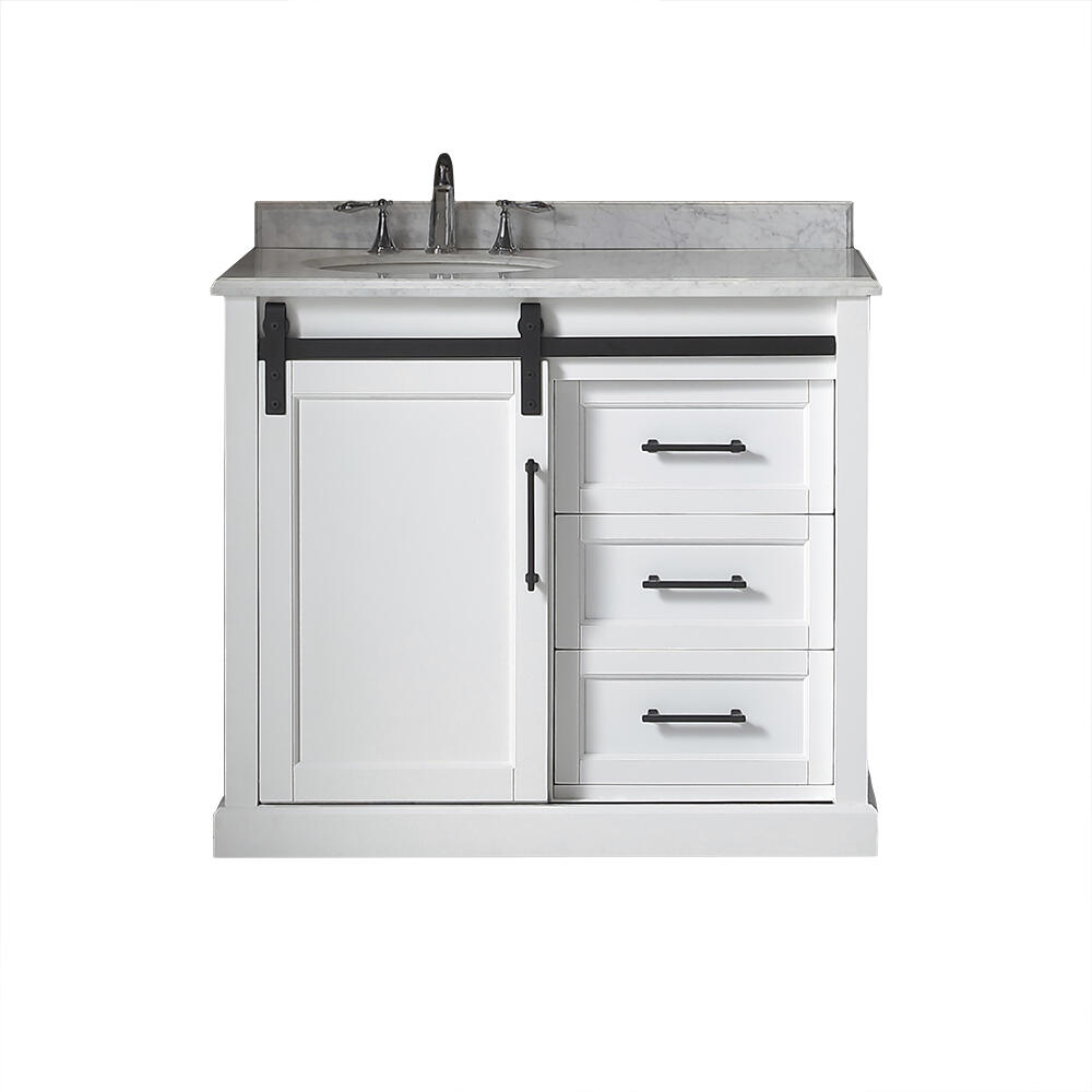 Ove Decors Santa Fe 40 W X 22 D White Vanity And Carrera Marble Vanity Top With Left Offset Oval Undermount Bowl At Menards