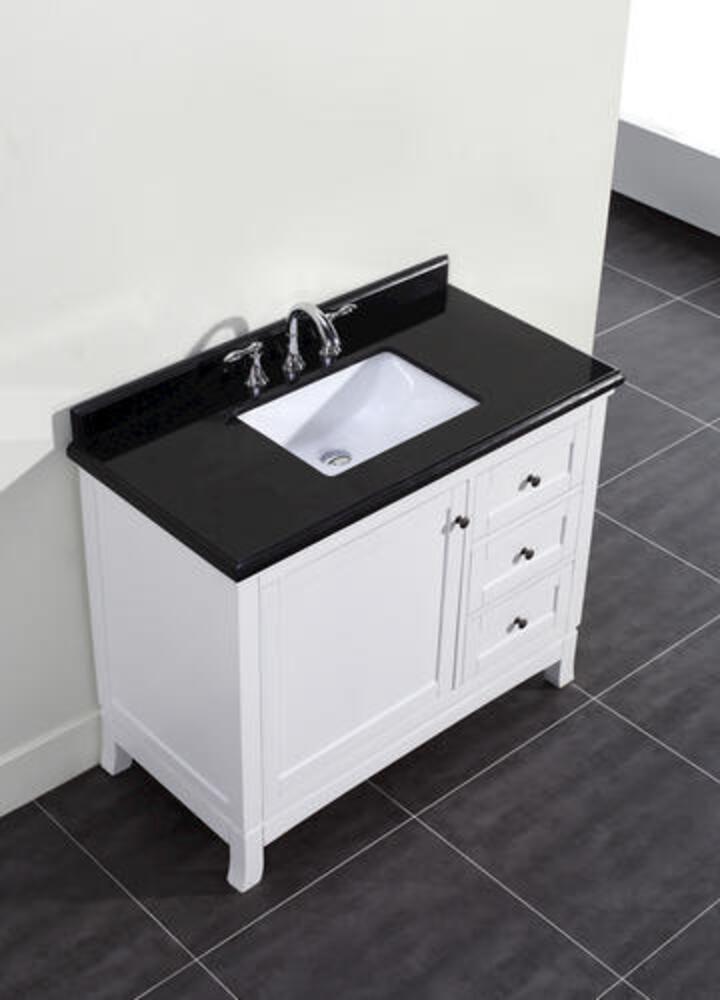 Ove Decors Sophia 42 W X 22 D White Vanity And Black Granite Vanity Top With Rectangular Undermount Bowl At Menards