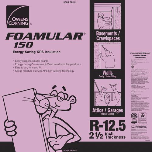 Owens Corning® Foamular® Extruded Polystyrene Insulation 2-1/2