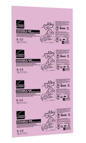 Owens Corning® Foamular® Extruded Polystyrene Insulation 1/2