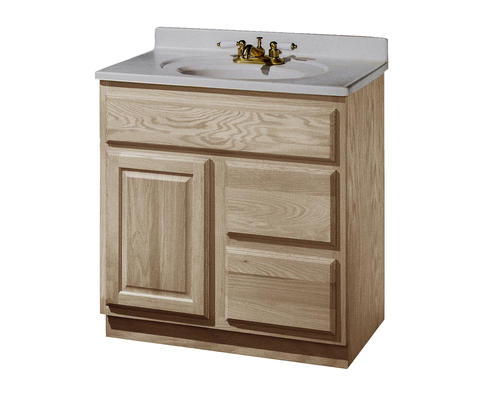 """30 Bathroom Vanity Menards pace 30"""" x 21"""" unfinished oak vanity with drawers on right at menards®"""