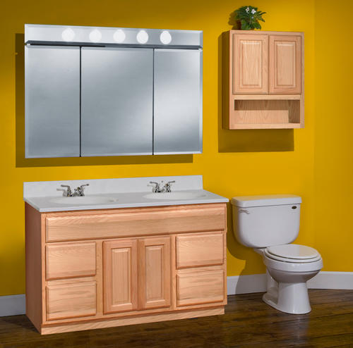 "Bathroom Vanities Unfinished pace 48"" x 21"" unfinished oak vanity with drawers at menards®"