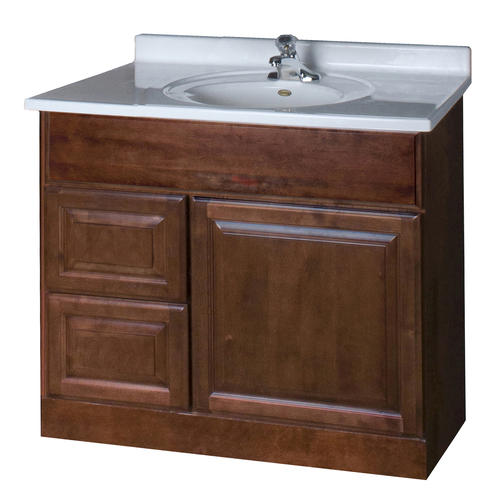 "Bathroom Vanity 36 X 18 pace valencia series 36"" x 18"" vanity with drawers on left at menards®"