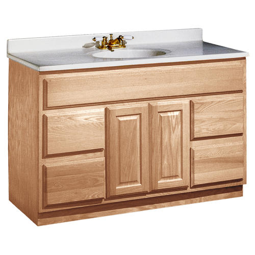 "Unfinished Bathroom Vanity Cabinet pace 48"" x 21"" unfinished oak vanity with drawers at menards®"