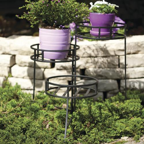 Black 3 Tier Folding Plant Stand