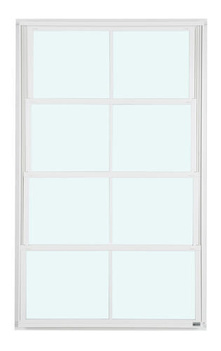 "Eze-Breeze 30"" W x 48"" H White Vertical 4-Track Venting Window with Clear Vinyl"