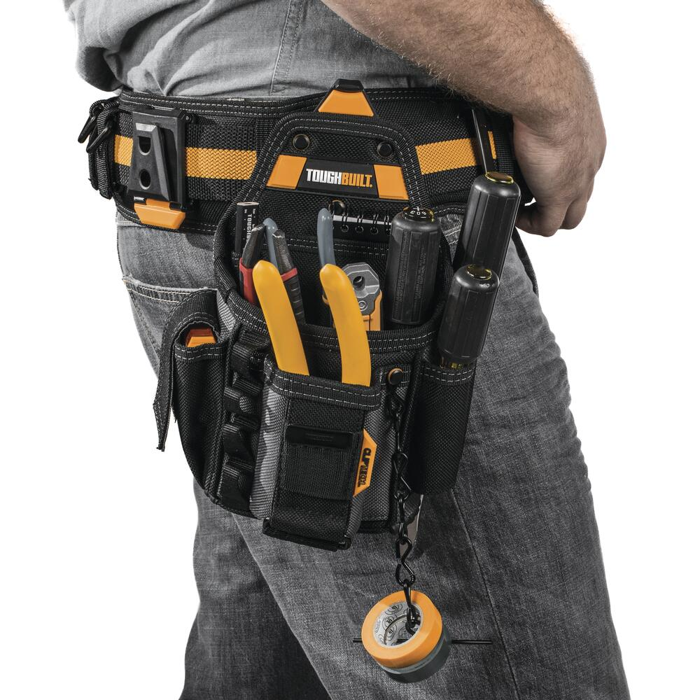 Details about  /Heavy Duty Tool Belt with Patented Clip Tech Hub Technician 6 Pocket Pouch Large