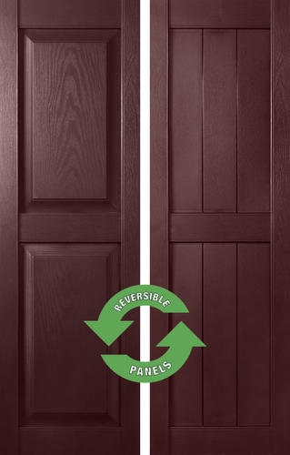 "Shutters By Design 14-1/2"" W x 51"" H Bordeaux Vinyl Reversible (Raised or Rustic Panel) Exterior Shutters - 2-Pack"