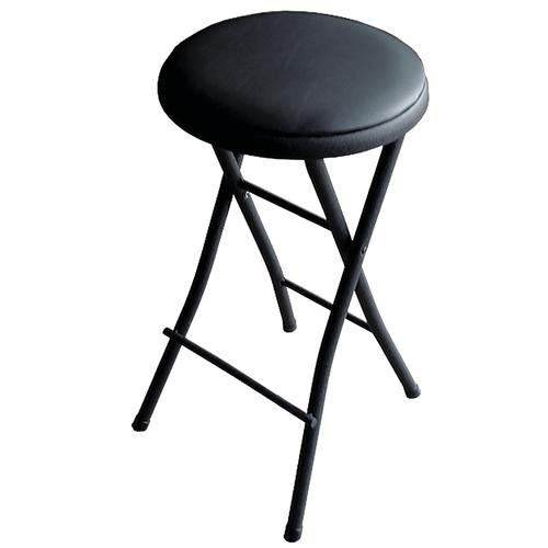Black Steel And Vinyl Folding Stool