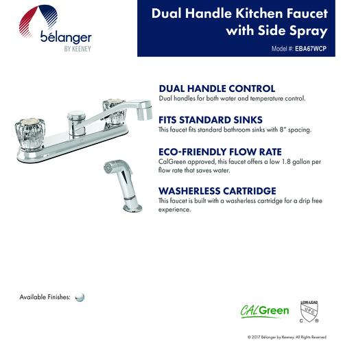 Belanger By Keeney Two Handle Polished Chrome Kitchen Faucet