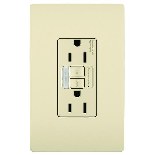 Pass /& Seymour radiant 1597NTLTRLACC4 15 Amp Combination LED Night Light//Tamper-Resistant Self-Test GFCI Safety Outlet Light Almond Matching Wall Plate Included Legrand