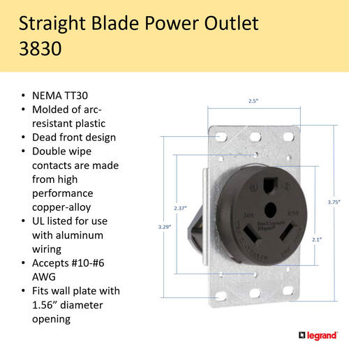 30 amp rv receptacle wiring diagram legrand   pass   seymour   30 amp 125 volt 3 wire black rv flush 30 amp rv male plug wiring diagram 30 amp 125 volt 3 wire black rv flush