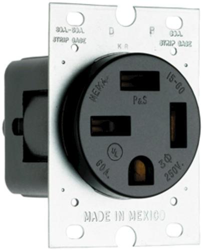 Legrand® 60-Amp 3-Phase 250-Volt 4-Wire Black Flush Power Outlet at ...