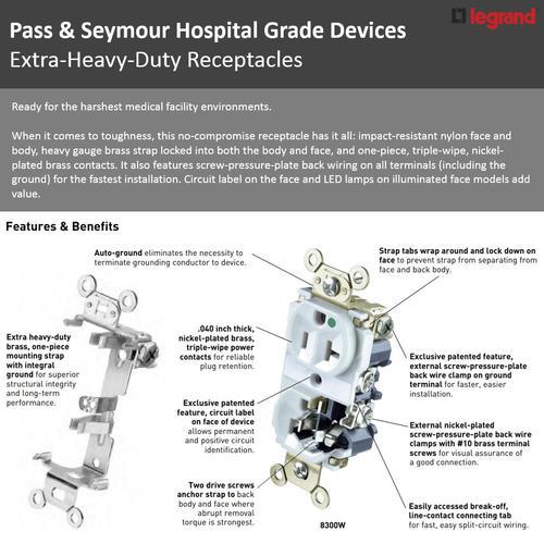 legrand pass \u0026 seymour� 20a hospital grade outlet gray at basic house wiring diagram hospital grade wiring diagram