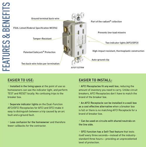 20 amp outlet diagram legrand radiant   20 amp dual function self test tamper resistant  legrand radiant   20 amp dual function