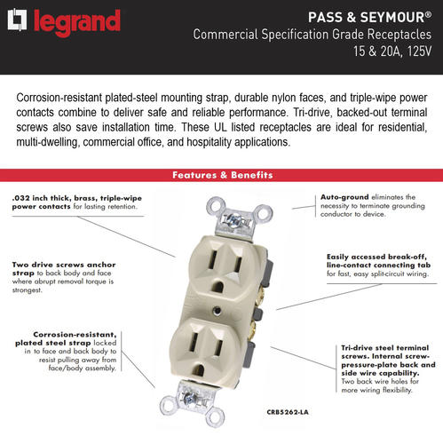 Legrand® P & Seymour 15-Amp Commercial-Grade Duplex ... on