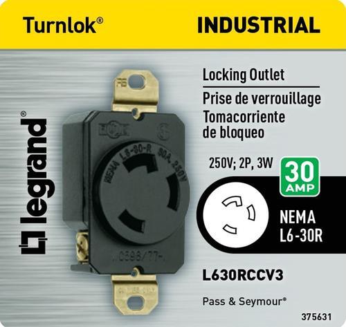 30 Amp Outlet >> Legrand Pass Seymour 30 Amp 250 Volt Black Locking Single Outlet