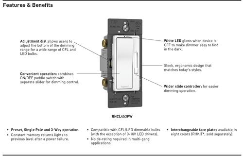 Legrand radiant® 450W LED CFL Single Pole/Three Way Dimmer at Menards® legrand single pole switch Menards