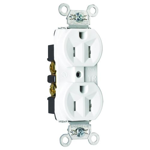 legrand® pass & seymour white 15-amp tamper-resistant back wire duplex  outlet