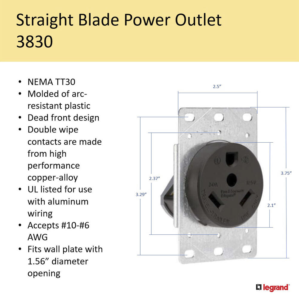 Wire Black Rv Flush Power Outlet