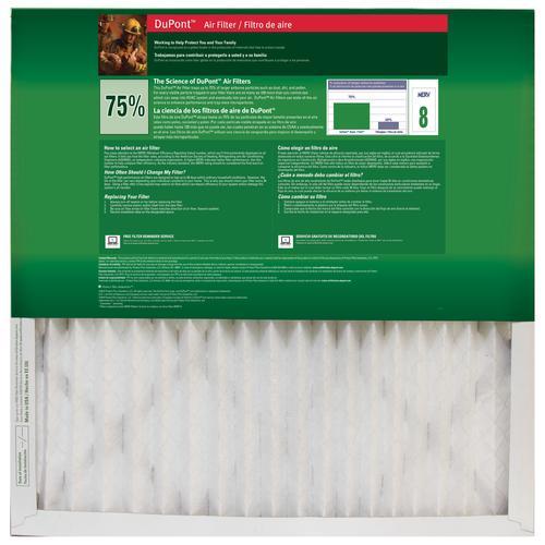 dupont® basic pleated replacement air filter merv 8 at menards®