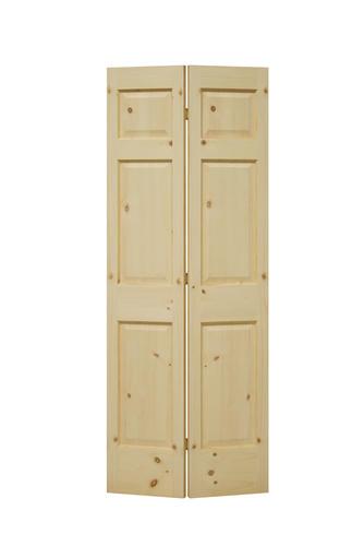 Mastercraft Ready To Finish Knotty Pine 6 Panel Bi Fold Door At