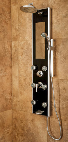 Attirant PULSE ShowerSpas Leilani 6 Jet Shower Panel In Black U0026 Chrome At Menards®