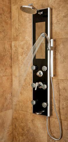 PULSE ShowerSpas Leilani 6-Jet Shower Panel in Black & Chrome at ...
