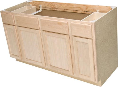 Quality One 60 X 34 1 2 Unfinished Oak Sink Base Cabinet With 2 Active Drawers At Menards