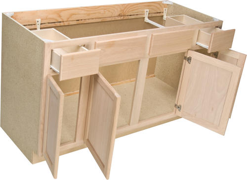 "quality one™ 60"" x 34-1/2"" unfinished oak sink base cabinet with 2"