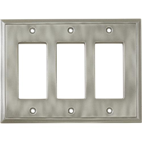 decorative light switches.htm weybridge    cast metal water triple decor brushed nickel wall plate  triple decor brushed nickel wall plate