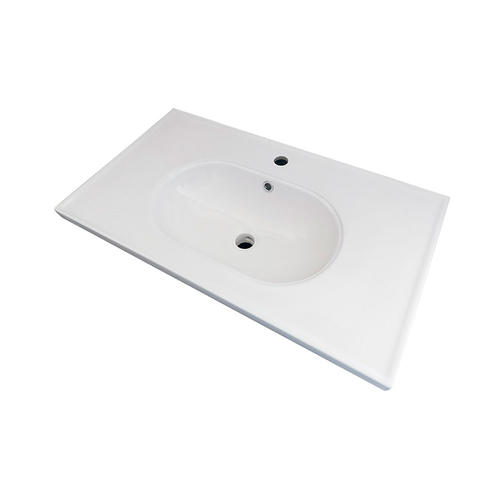 Randalco Boho 32 X 18 Solid White Gloss Ceramic Vanity Top With Rectangular Integrated Bowl At Menards
