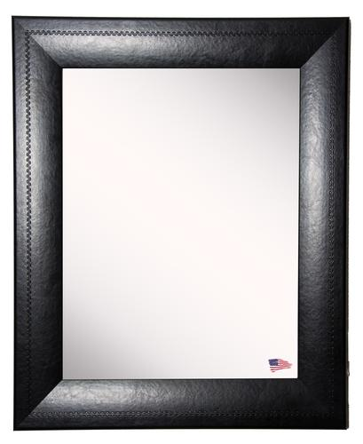 """Rayne Mirrors 29-3/4""""W x 35-3/4""""H Black Stitched Leather Framed Mirror"""