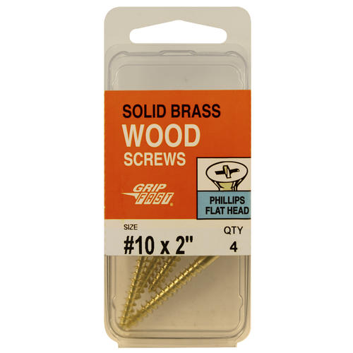 Wood Screw Flat Head Brass 20, 10 x 2