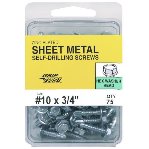 75 #10x3//4 Hex Washer Head Self Drilling Screws Steel Zinc Plated
