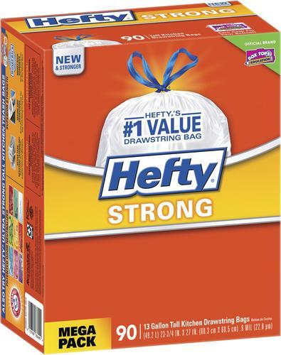Hefty Strong 13 Gallon Tall Kitchen Drawstring Trash Bags 90 Count