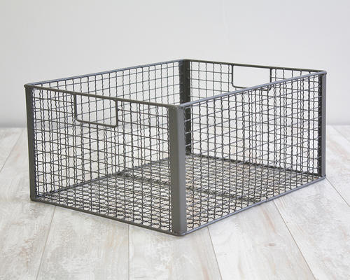 Antique Gray Metal Lattice Basket With Handles