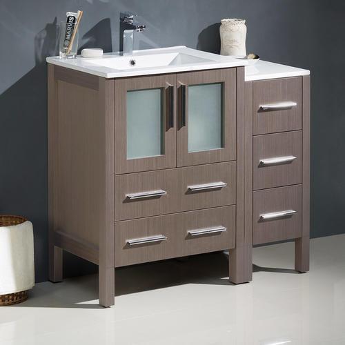 """Fresca 36""""W x 18""""D Gray Oak Torino Vanity and Vanity Top ..."""