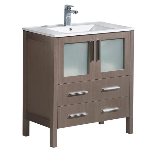 "Fresca 30""W x 18""D Gray Oak Torino Vanity and Vanity Top ..."