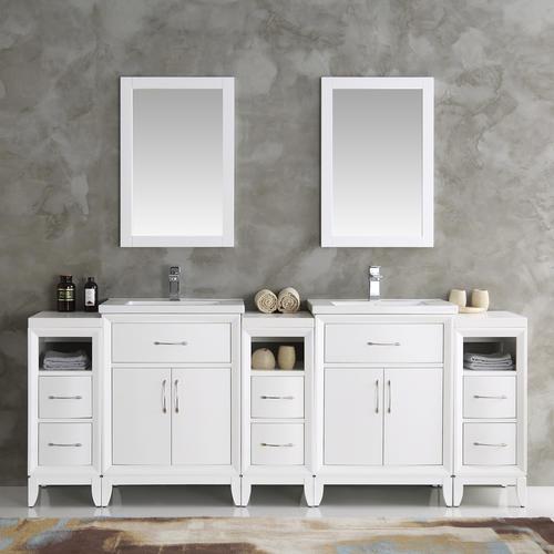 Fresca Cambridge 84 White Double Sink Traditional Bathroom Vanity W