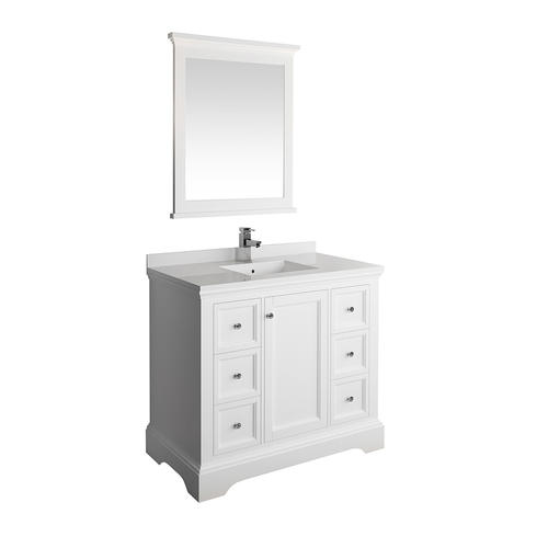 Fresca Windsor 40 W X 20 D Matte White Vanity And White Quartz Vanity Top With Undermount Bowl And Mirror At Menards