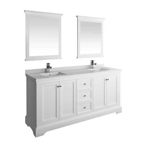 Fresca Windsor 72 W X 20 D Matte White Vanity And White Quartz Vanity Top With Undermount Bowls And Mirrors At Menards