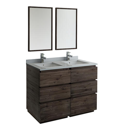 Fresca Formosa 48 W X 20 D Gray Brown Vanity And White Quartz Vanity Top With Undermount Bowls And Mirrors At Menards