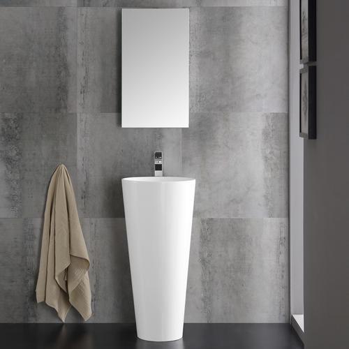 Fresca Messina 16 White Pedestal Sink W Medicine Cabinet Modern