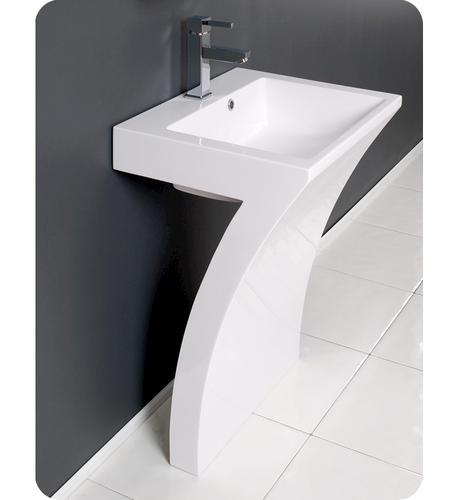 Bathroom Sinks At Menards fresca quadro white pedestal sink w/ medicine cabinet - modern
