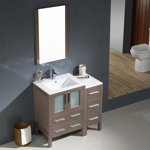 """Fresca 36"""" W x 18-1/8"""" D Gray Oak Torino Vanity with Side ..."""